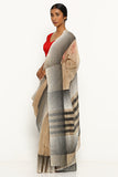 Beige Handloom Silk Cotton Maheshwari Saree with Striped Border