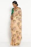 Peach Handloom Silk Cotton Saree with All Over Digital Floral Print