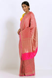 Pink Handloom Pure Silk Banarasi Tanchoi Saree with All Over Handwoven Intricate Zari Work