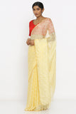 Custard Yellow Handloom Kota Silk Saree with Sequin Work and Zari Border