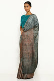 Brown-Grey Pure Tussar Silk Saree with All Over Traditional Hand-Dyed Shibori Print