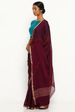 Purple Pure Wrinkled Chiffon Saree with Woven Gold Zari Border