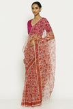 Coral Pink Handloom Pure Cotton Kota Doriya Saree with Traditional Sanganeri Print