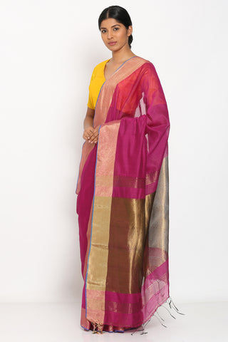 Dark Pink Handloom Pure Cotton Saree with Copper Tissue Pallu