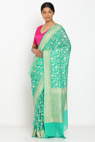 Green Handloom Pure Khaddi Georgette Alfi Patola Banarasi Saree with Rich Floral Jaal