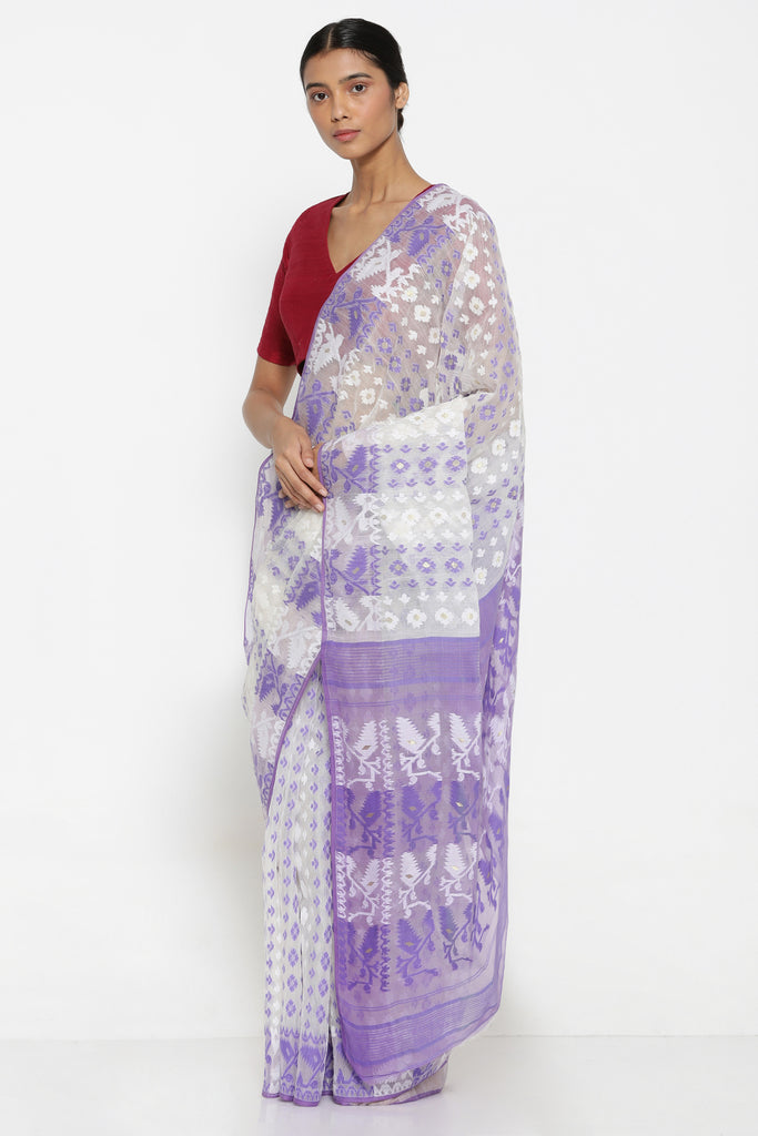 d1d7131f2c ... White Cotton Jamdani Saree with Lavender Self Weave Motif and  Traditional Pallu ...