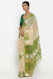 Beige Cotton Jamdani Saree with Green and White Self Weave Motif and Traditional Pallu