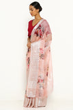 Rose Pink Pure Kota Silk Saree with All Over Floral Print