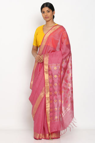 Pink Handloom Pure Tussar Silk Saree with Zari Border and Detailed Pallu