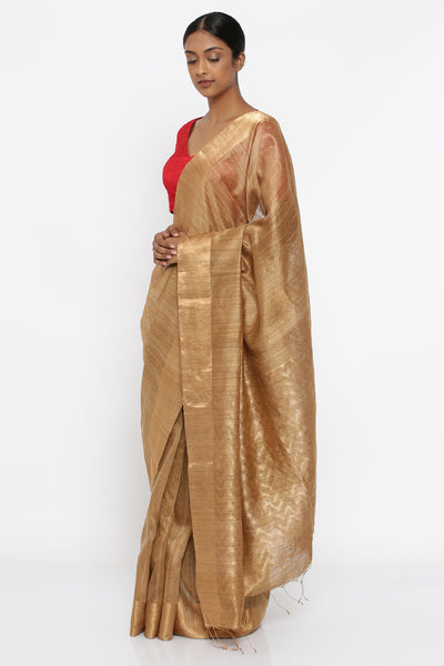 Via East golden brown handloom pure matka silk saree with gold zari border and detailed pallu
