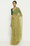 Pista Green Handloom Pure Cotton Kota Doriya Saree with Traditional Sanganeri Print