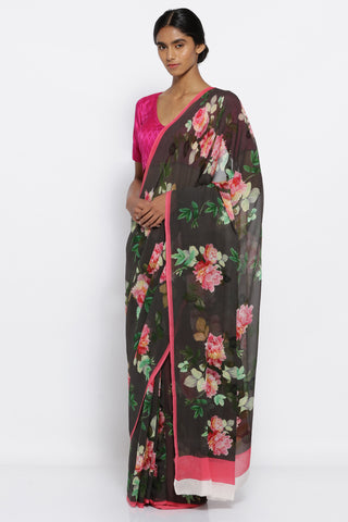 Black Chifffon Saree with All Over Vintage Floral Print