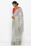 Grey Handloom Pure Silk-Cotton Saree with Floral Block Print and Detailed Zari Border
