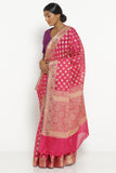 Deep Pink Silk Cotton Banarasi Saree with All Over Motifs and Rich Pallu