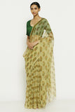 Pale Yellow Handloom Pure Cotton Kota Doriya Saree with Traditional Sanganeri Print