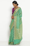 Green Silk Cotton Banarasi Saree with All Over Motifs and Rich Pallu