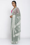 Grey Handloom Pure Chiffon Banarasi Saree with All Over Zari Motif and Rich Border
