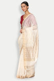 Jasmine White Handloom Silk Cotton Chanderi Saree with Striped Border