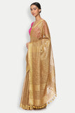 Tawny Brown Pure Linen Saree with All Over Checked Pattern