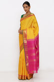Yellow Genuine Handloom Kanjeevaram Silk Saree with Pure Zari Border and Pink Pallu