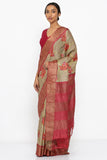 Sandy Brown Handloom Pure Tussar Silk Saree with Floral Print