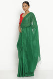 Emerald Green Pure Linen Saree with Tasseled Edge