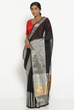 Black Handloom Silk Cotton Mangalagiri Saree with Rich Silver Border