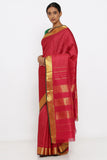 Red Genuine Handloom Kanjeevaram Silk Saree with Allover Pure Zari Pattern and Rich Pallu