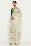Vanilla White Pure Linen Saree with All Over Floral Print and Silver Zari Border