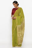 Green Handloom Pure Silk-Cotton Saree with Allover Zari Striped Pattern and Woven Pallu