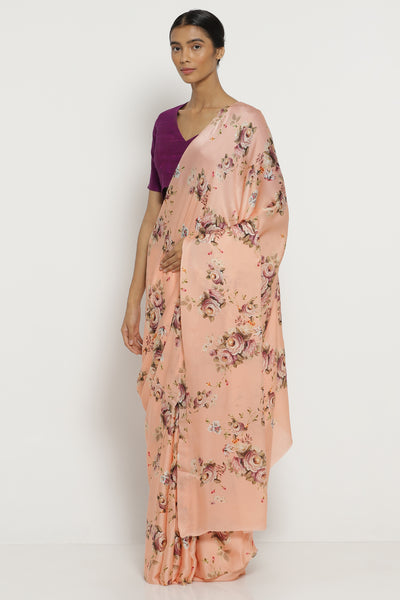 Via East peach silk satin saree with all over floral print