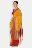 Yellow Handloom Pure Silk-Georgette Banarasi Saree with All Over Bird Motifs