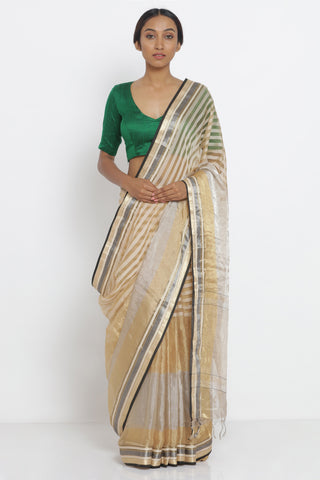 Gold Handloom Pure Silk-Tissue Sheer Saree with Detailed Striped Pattern and Striking Blouse
