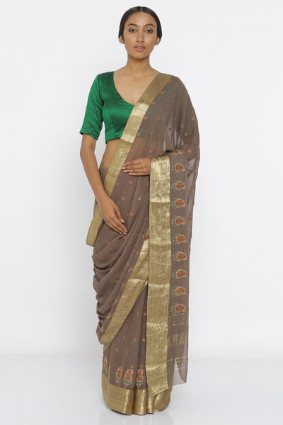 Via East brown handloom pure georgette sheer saree with kashida embroidery and striking blouse