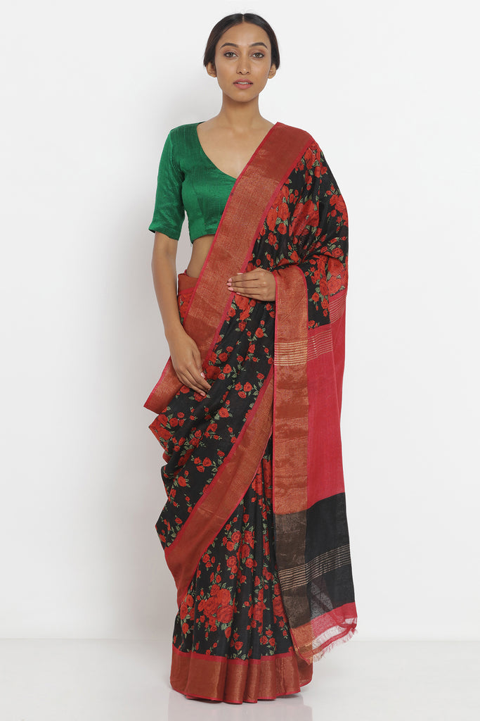 Black Handloom Pure Tussar Silk Saree with Allover Digital Floral Print