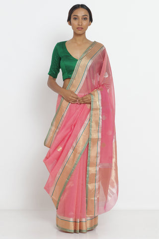 Pink Handloom Pure Kora Silk Saree with All Over Zari Motif and Gold-Green Zari Border