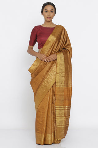 Brown Handloom Pure Silk Saree with Checked Gold Zari Border