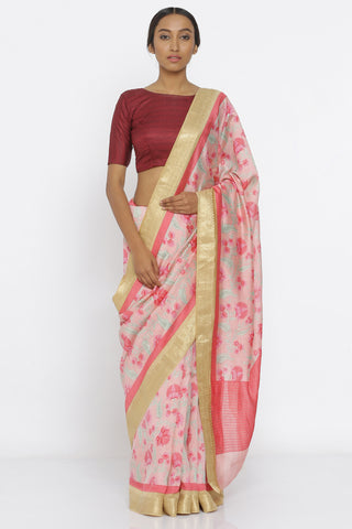 Pink Handloom Pure Munga Silk Saree with All Over Floral Print and Detailed Gold Zari Border