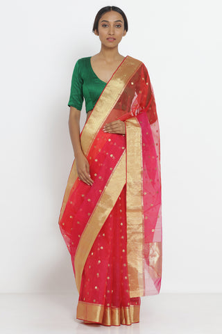 Red Handloom Pure Chanderi Silk Saree with Zari Motif and Border