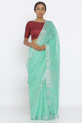 Sea Green Handloom Pure Linen Saree with All Over Sequin Work and Striking Blouse