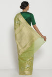 Leaf Green Pure Silk Cotton Kota Banarasi Saree with All Over Floral Jaal