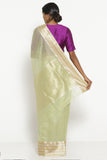 Sage Green Handloom Silk Cotton Chanderi Saree with Gold and Silver Woven Border