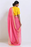 Pink Pure Crepe Saree with Solid Tissue Gold Border
