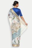Blue Grey Pure Silk-Organza Sheer Saree with Detailed Woven Zari Border