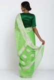 Green Handloom Pure Chiffon Banarasi Saree with All Over Zari Motif and Rich Border