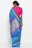 Blue Handloom Pure Raw Silk Saree with Tie-Dye Pattern and Zari Border