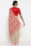 Beige Cotton Jamdani Saree with Red Self Weave Motif and Traditional Border