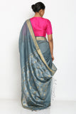 Blue Grey Handloom Pure Tussar Silk Saree with Zari Border and Detailed Pallu