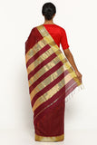 Ruby Red Handloom Silk Cotton Maheshwari Saree with Gold Zari Border