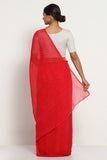 Red Pure Chiffon Saree with Traditional Leheriya Print